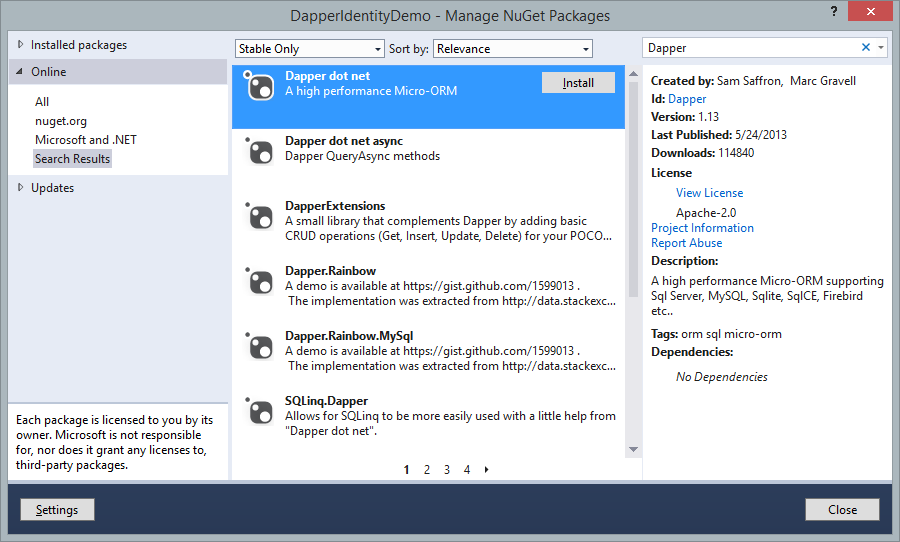 Dapper in NuGet